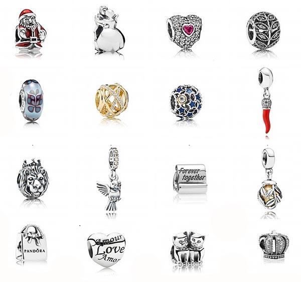 На фотографии представлены некоторые варианты шармов для браслетов Пандора.